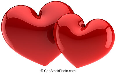 I Love You! Red heart shapes - Two heart shapes total red. I...