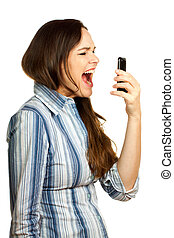 Angry and frustrated business woman yelling at her phone -...
