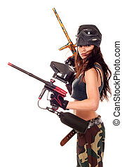 Paintball girl - Sexy young girl posing like playing...