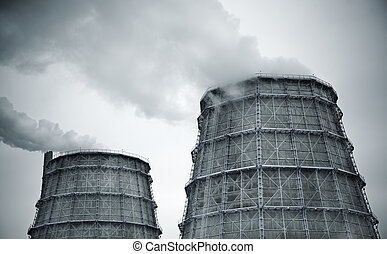 Cooling Towers at power station, special toned photo...