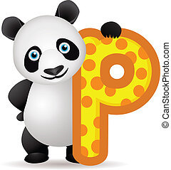 alphabet P with Panda cartoon