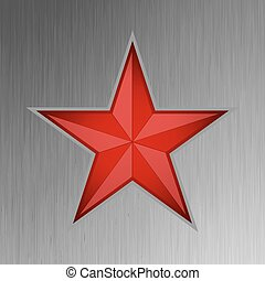 Red star on steel background. EPS 8