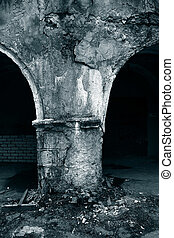 aging arch in destroyed building