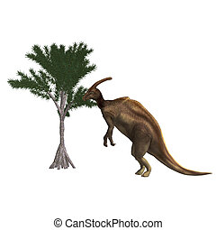 Dinosaur Parasaurolophus 3D rendering with clipping path and...