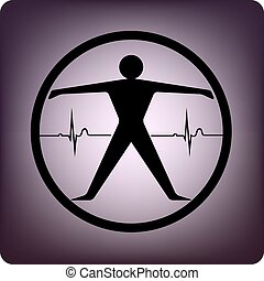 Fitness - Human with EKG inside the cirlce