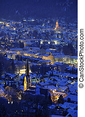 german city garmisch at cold winter night