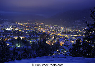 city garmisch at night - german city garmisch-partenkirchen...