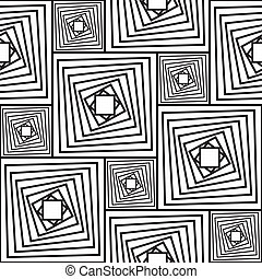 Black-and-white abstract background with squares. Seamless...