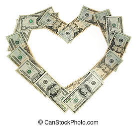 Heart of the money on the white background, to the day of...