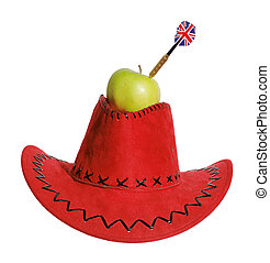 Green apple with a dart in a red hat on the white background...