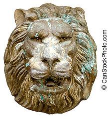 Lion mask. - Leonine facies isolated on white background.
