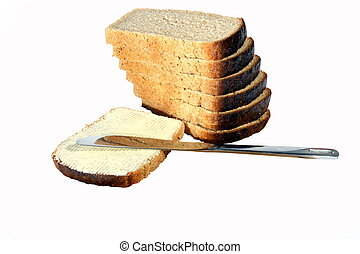 Bread butter a knife on the white background isolated