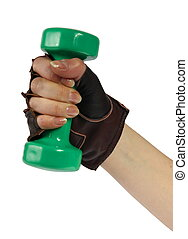 dumb-bell in the hand - dumb-bell in the womanish hand on...
