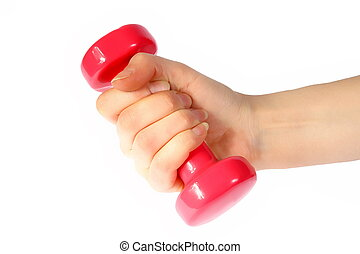 Red dumb-bell in the womanish hand on the white background....
