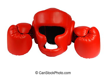 Red boxing-gloves and helmet on the white background....