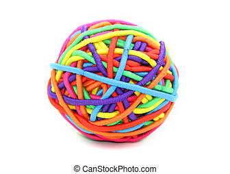 Rubber band ball - Colorful ball made up of girl's rubber...