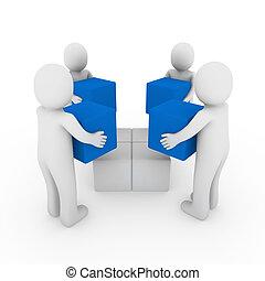 3D, pessoas, cubo, caixa, equipe, azul, branca