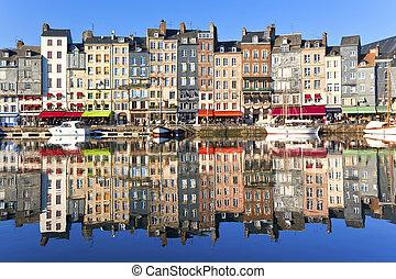 Honfleur, France - Honfleur harbour in Normandy, France....