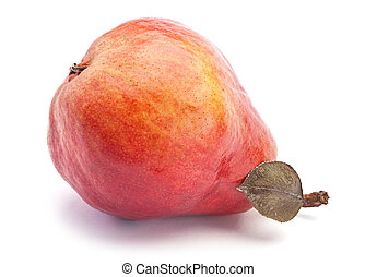Red pear ripe fruit isolated on white background