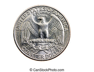 American cents - Twenty five American cents on a white...