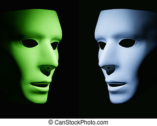 Faces in Conversation - One green mask and one light blue...