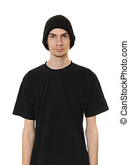 White Dude Wearing Black Beanie Hat - A white caucasain...