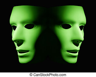 Opposite Directions - Two green masks facing opposite...