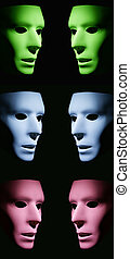 Segregation - Green, blue and pink masks facing each other...