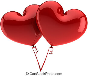 Ballons as hearts. Love symbols - Heart balloons couple...