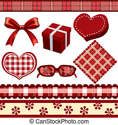 Red Decoration Set - Illustration vector
