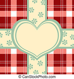Decoration heart on check pattern