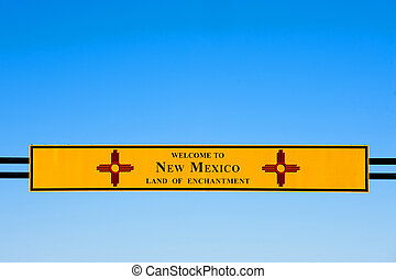 Welcome to New Mexico sign on Interstate I-40