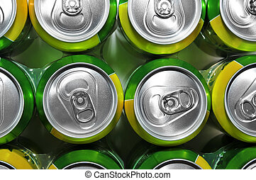 soda cans - closeup of a lot of soda cans