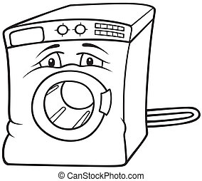 Washing Machine - Black and White Cartoon illustration,...