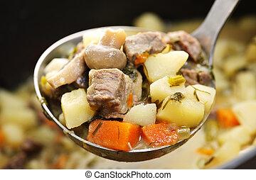 carne de vaca, guisado, porción, Cuchara