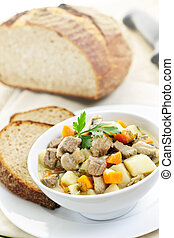 Bowl of beef stew - Bowl of hearty beef stew with vegetables...