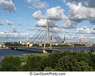 View at Riga - View at the bridge and the city of Riga