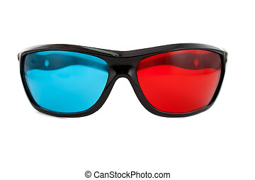 3d glasses directly on the white background of large