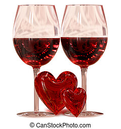 celebration of love's day - two wineglass with two hearts as...