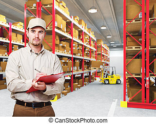 delivery man in warehouse - delivery man at work and 3d...