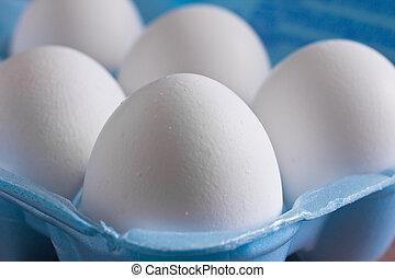 5 Eggs - Closeup of eggs in a blue carton