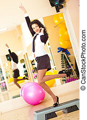 businesswoman fitness - sucsess woman in fitness gym