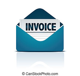 invoice with envelope isolated over white