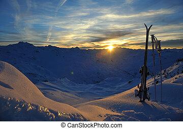 mountain snow ski sunset - mountain snow ski with beautiful...