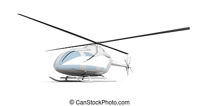 Helicopter - 3D rendered Illustration. Isolated on white.