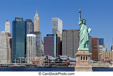 Statue of Liberty and New York City - The landmark Statue of...