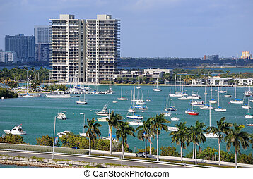 Miami Skyline - Skyline of the city of Miami with sailboats...