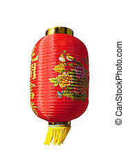 Traditional and decorative Chinese lantern isolated on white...