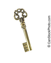 Vintage Key - A vintage brass key isolated against a white...
