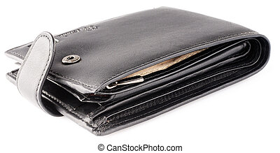 Black leather wallet over white